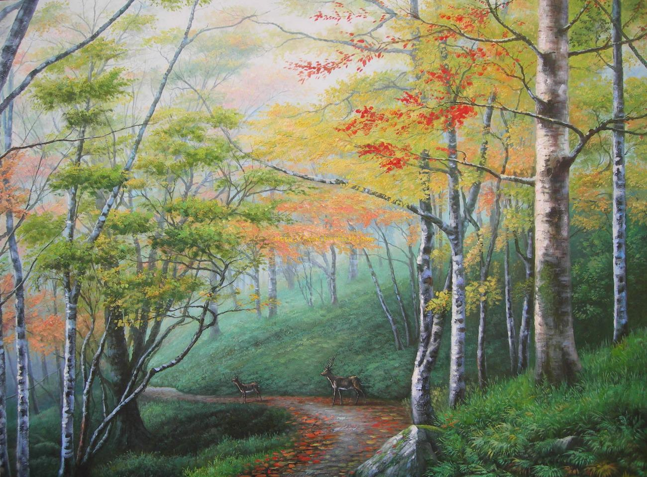 Woods deer landscape oil painting for Oil painting scenery