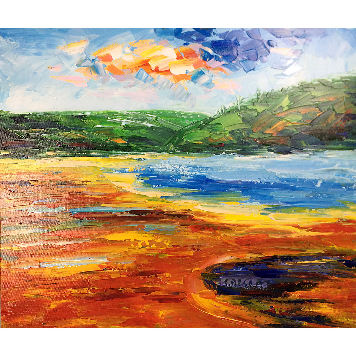 Yellowstone Park Original Oil Painting Hand-Painted Abstract Painting On Canvas Colourful Clouds