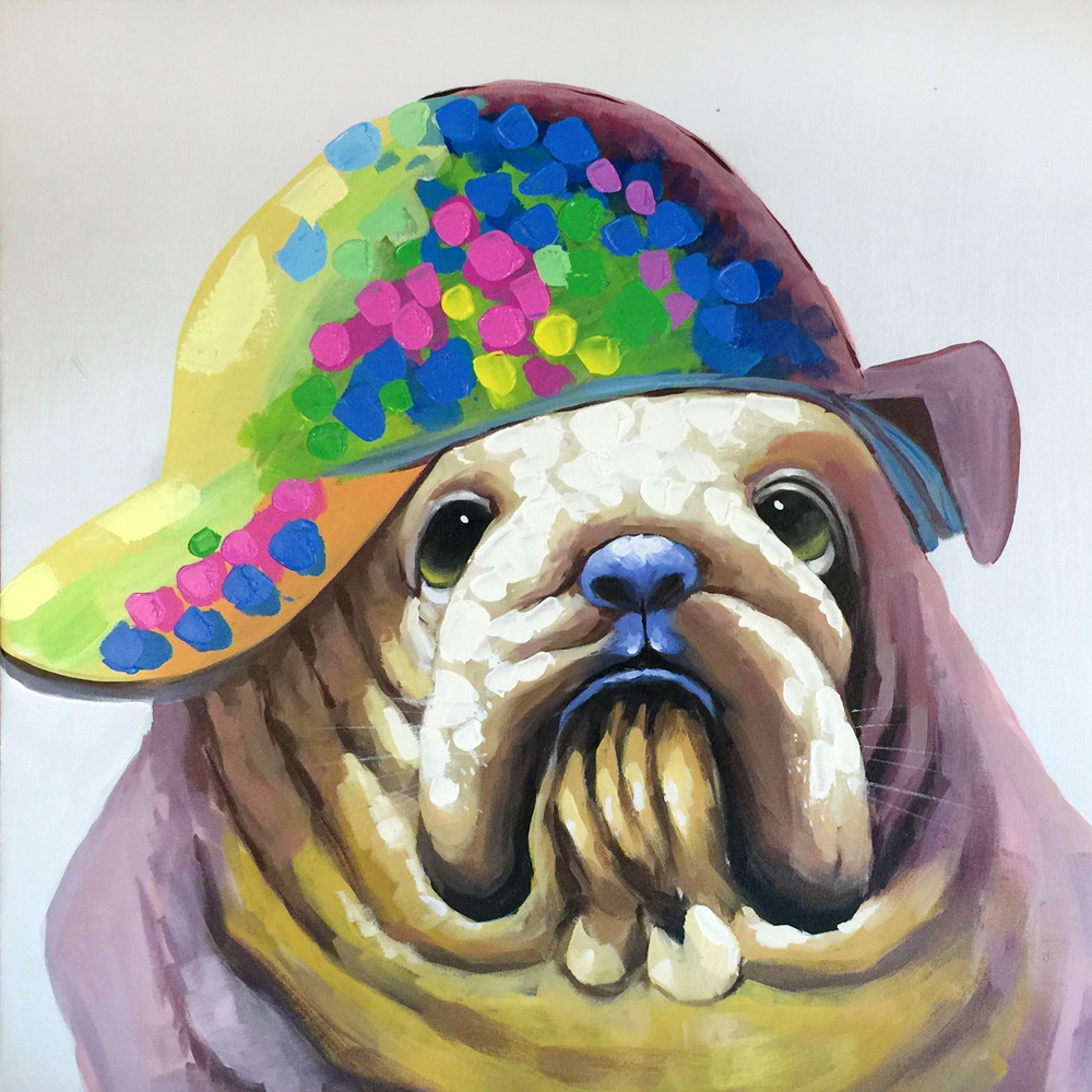 Hand painted Funny Animal SharPei Dog oil painting