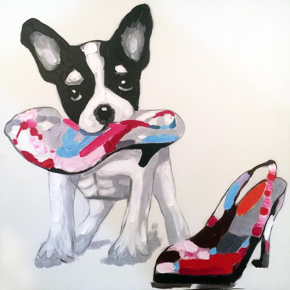 Hand painted Original Oil Paintings Animal Cute Smart Dog on Canvas