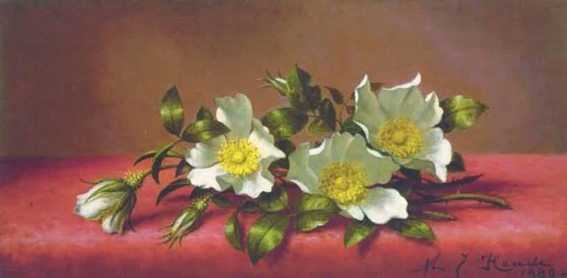 Martin Johnson Heade Passion Flowers and Hummingbirds