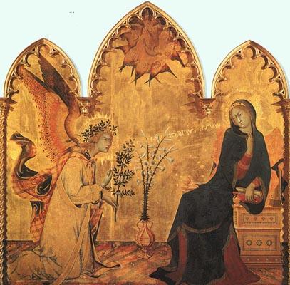 Simone Martini The Annunciation & the Two Saints detail