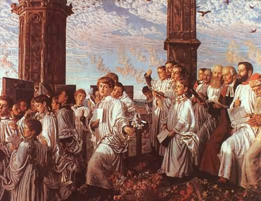 William Holman Hunt May Morning on Magdalen Tower