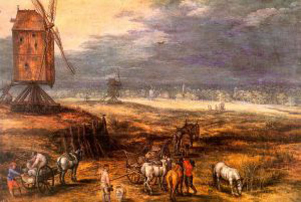Jan Brueghel the Elder Landscape with Windmills