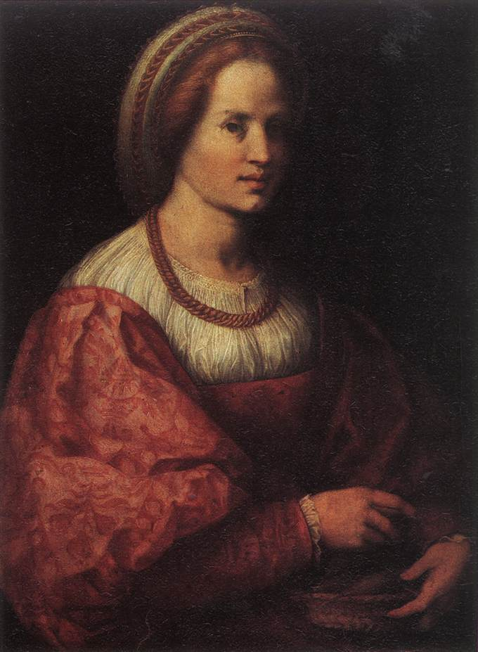 ANDREA DEL SARTO Portrait of a Woman with a Basket of Spindles