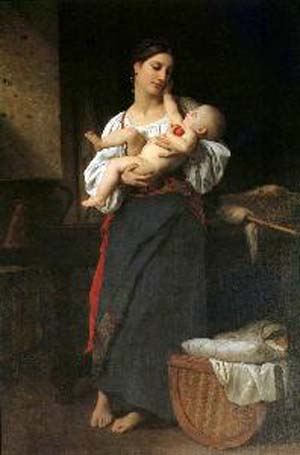 Adolphe-William Bouguereau First Caresses
