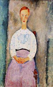 Amedeo Modigliani Girl with Polka Dot Blouse