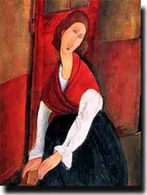 Amedeo Modigliani Jeanne Hebuterne A Door in the Background