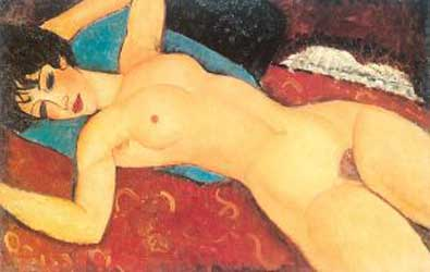 Amedeo Modigliani Red Nude Nude on a Red Cushion