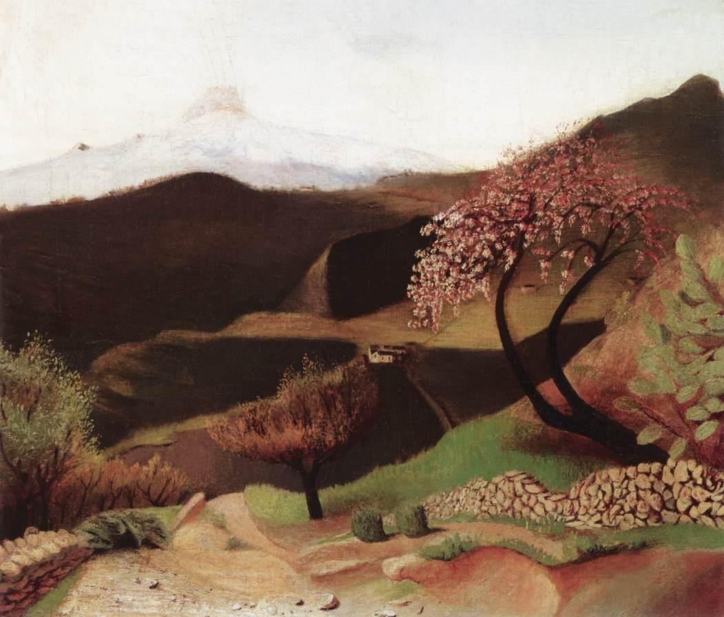 CSONTVARY KOSZTKA Tivadar Blossoming Almonds Landscape in Italy