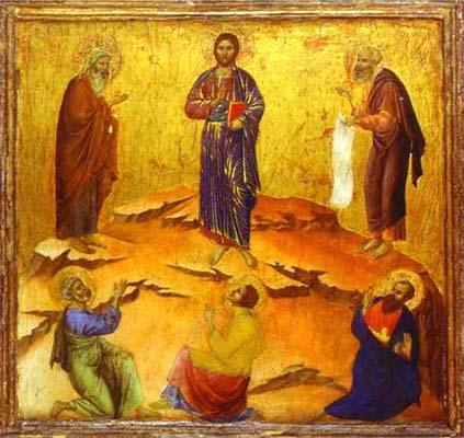 Duccio di Buoninsegna maesta_back_ predella_ The Transfiguration of Christ