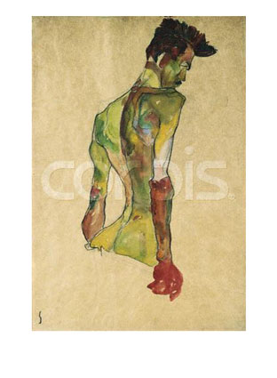 Egon Schiele Male Nude in Profile Facing Right