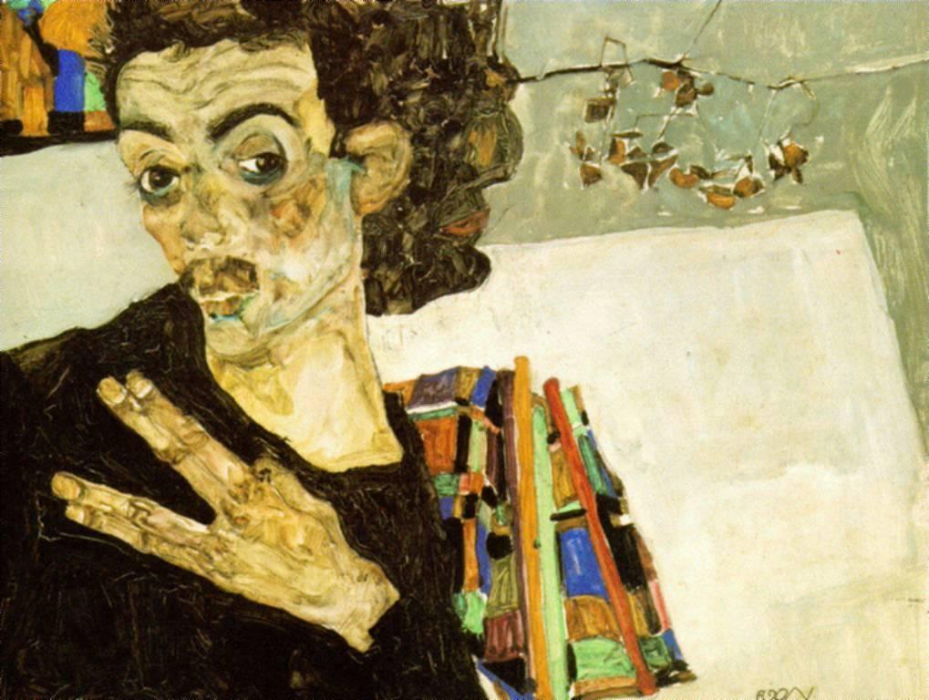 Egon Schiele Self Portrait with black Vase
