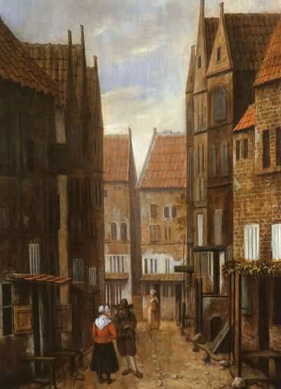 Jacobus Vrel Street Scene with Couple in Conversation