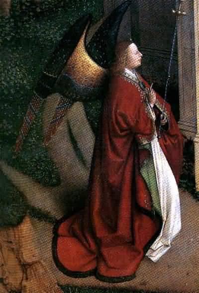 Jan van Eyck The Annunciation Gabriel Detail