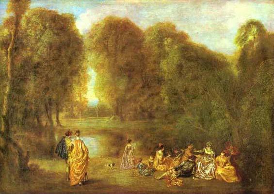 Jean Antoine Watteau Assembly in a Park