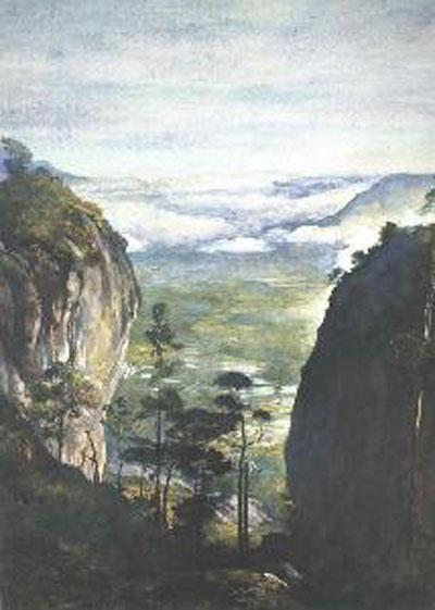 John la Farge View in Ceylon Near Dambulla Looking Down on Ric