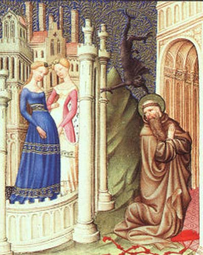 Limbourg Brothers St. Jerome Tempted by Dancing Girls