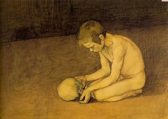 Magnus Enckell Young Boy and Skull