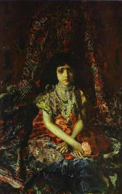 Mikhail Vrubel Portrait of a Girl against a Persian Carpet