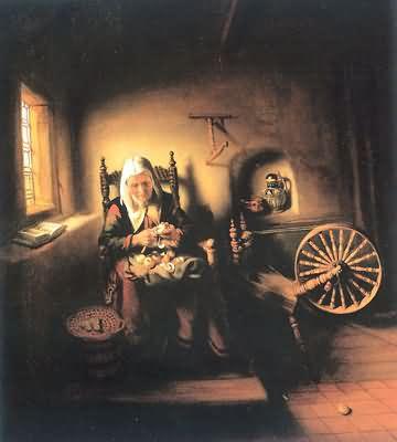 Nicolaes Maes Old Woman Peeling Apples