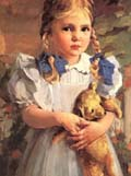 Bessie Wessel Girl with Teddy Bear detail