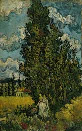 Cypresses and Two Women, St. Remy 1890 - Vincent Van Gogh