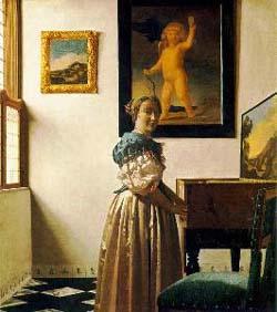 Jan Vermeer Lady standing at the Virginals