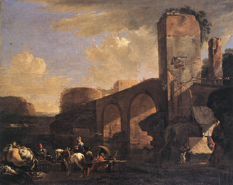ASSELYN Jan Italianate Landscape with a River and an Arched Bridge