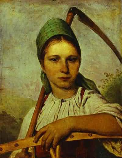 Alexey Venetsianov Pelageya Peasant Woman with Scythe and Rake