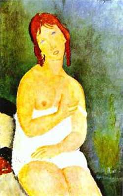 Amedeo Modigliani Red Haired Young Woman in Chemise