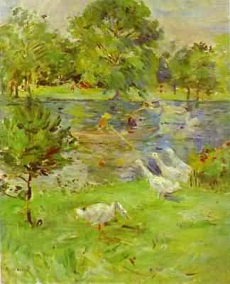 Berthe Morisot Girl in a boat with Geese