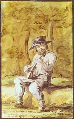 Count Feodor Tolstoy Peasant Playing the Balalaika