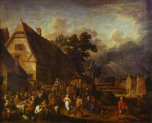 David Teniers the Younger Great Village Feast with a Dancing Couple
