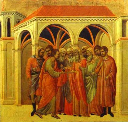 Duccio di Buoninsegna maesta_back_ central panel_ The Betrayal by Judas