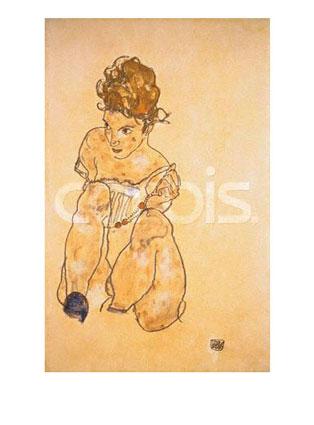 Egon Schiele Seated Girl in Slip