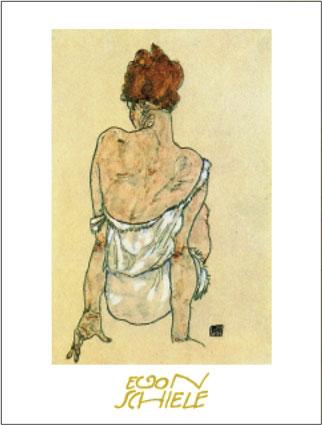 Egon Schiele Zittende Vrouw op the Rug Gezien