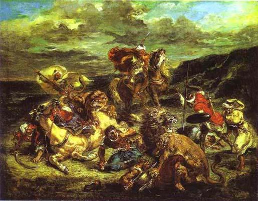Eugene Delacroix Lion Hunt