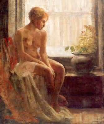 Frederick Mulhaupt Nude Seated by a Window