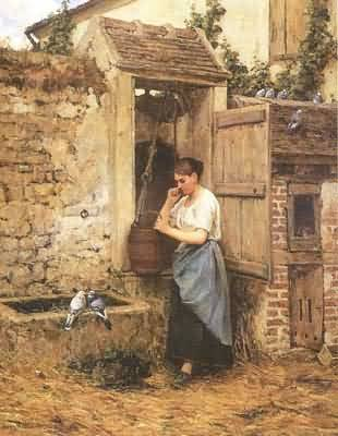 Henry Mosler Peasant Girl and Doves