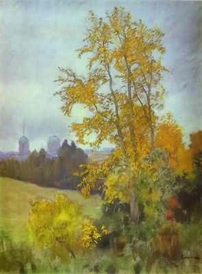 Isaac Levitan Autumn Landscape with a Church