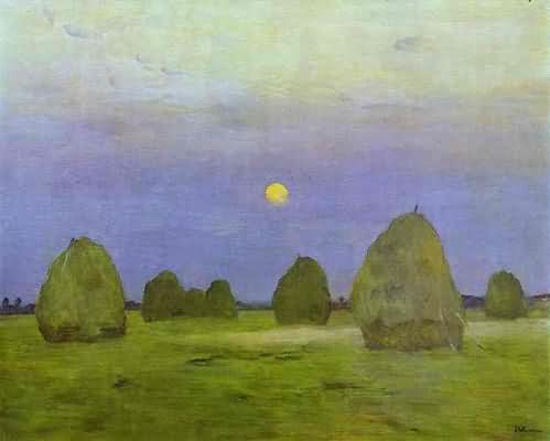 Isaac Levitan Haystacks Twilight