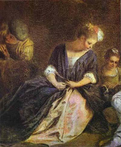 Jean Antoine Watteau Recreation Italienne Detail