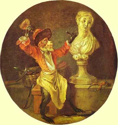 Jean Antoine Watteau The Monkey Sculptor