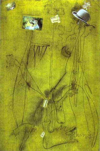 Joan Miro Drawing Collage with a Hat