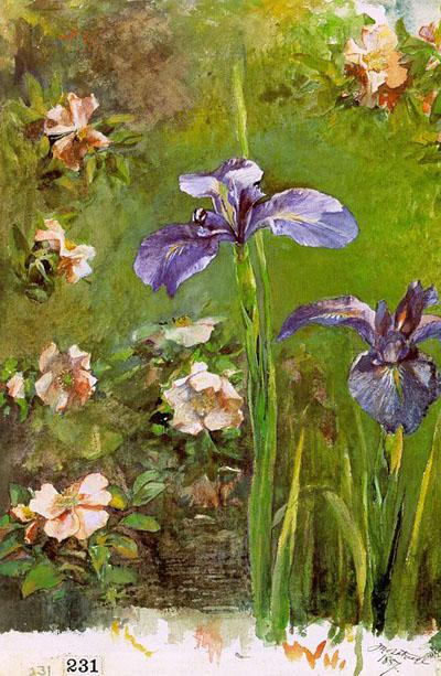 John la Farge Wild Roses and Irises