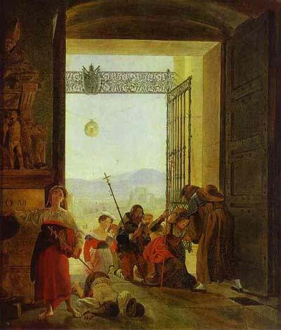 Karl Brulloff Pilgrims at the Entrance of the Lateran Basilica.