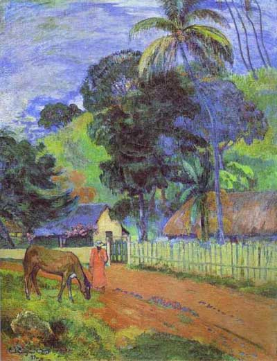 Paul Gauguin Horse on Road Tahitian Landscape
