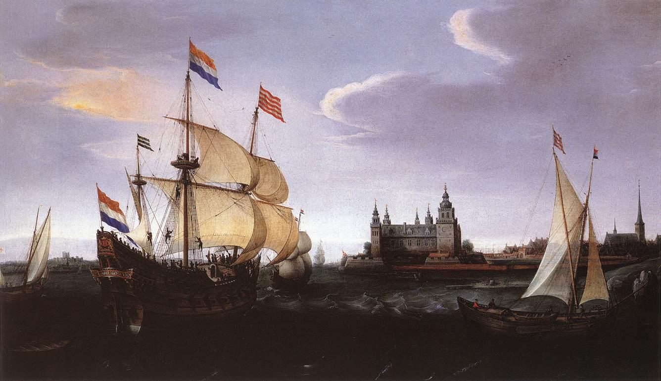 VROOM Hendrick Cornelisz Arrival of a Dutch Three master at Schloss Kronberg