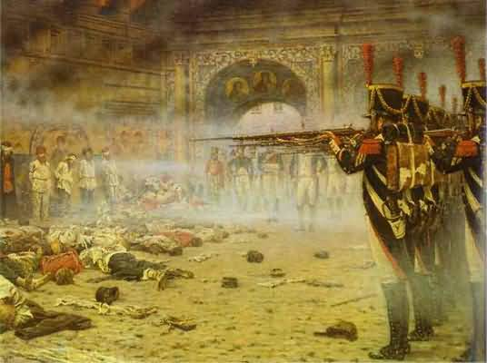 Vasily Vereshchagin In Defeated Moscow Arsonists or Shooting in the Kremlin